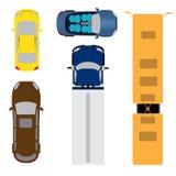 Ein Satz von fünf Autos Coupé, Kabriolett, Kombiwagen, Frachtpackwagen, Bus Ansicht von oben Abbildung Stockfotografie