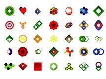 Ein Satz von 35 Logos und von Ikonen Stockfoto