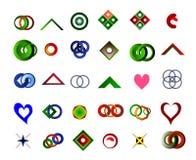 Ein Satz von 30 Logos und von Ikonen Stockbild