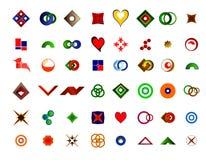 Ein Satz von 48 Logos und von Ikonen Lizenzfreie Stockfotografie