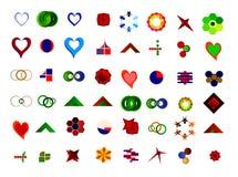 Ein Satz von 48 Logos und von Ikonen Stockfotos