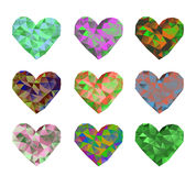 Ein Satz von 9 mehrfarbigen polygonalen Herzen Vektorillustration auf lokalisiertem Hintergrund Lizenzfreie Stockfotografie