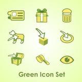 Ein Satz von neun Gegenständen auf einem grünen Hintergrund vektor abbildung