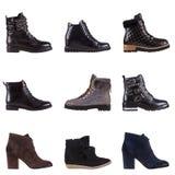 Ein Satz von 9 Paaren Frauen ` s Schuhen Lizenzfreie Stockfotos