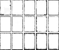 Ein Satz von 15 Schmutzrahmen gemacht mit Farbe, Kreiden und Holzkohle Lizenzfreie Stockfotografie
