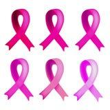 Ein Satz von sechs Schatten von rosa Bändern Weltbrustkrebs-Tag Infographics Vektorillustration auf lokalisiertem Hintergrund Stockfotografie