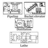 Ein Satz von vier Bildern einer technologischen industriellen Maschine Stockbild