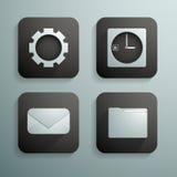 Ein Satz von vier Ikonen für Website und von Programmen in der blauen und schwarzen Farbe Stockfotos