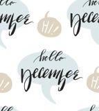 Ein Satz von vier nahtlosen Wiederholungsmustern des Winters mit Weihnachtsflitter, Konfettis, Sternen und abstrakten Bürstenansc lizenzfreie abbildung