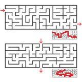 Ein Satz von zwei rechteckigen Labyrinthen mit einem Eingang und einem Ausgang Einfache flache Vektorillustration lokalisiert auf Lizenzfreie Abbildung