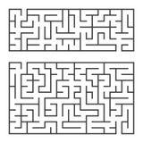 Ein Satz von zwei rechteckigen Labyrinthen mit einem Eingang und einem Ausgang Einfache flache Vektorillustration lokalisiert auf Vektor Abbildung
