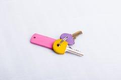 Ein Satz von zwei Schlüsseln, auf einem Schlüsselring, auf einer weißen Oberfläche Lizenzfreie Stockbilder