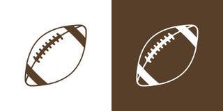 Ein Satz von zwei Wahlen für einfache Ikonen, Kontur, Bälle für amerikanischen Fußball Auf weißem und braunem Hintergrund lizenzfreie abbildung