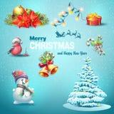 Ein Satz Weihnachtsartikel, Weihnachtsbaum, Laternen, Süßigkeit, Spielwaren Lizenzfreie Stockfotos