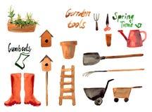 Ein Satzaquarell des Gartenarbeitwerkzeugs Stockfoto