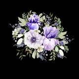 Ein schöner Aquarellblumenstrauß mit Anemone und Iris blüht Lizenzfreie Stockfotos