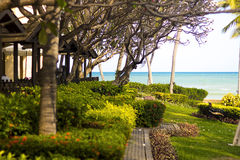 Ein schöner Erholungsort auf dem Strand und dem beträchtlichen Meer Stockbilder
