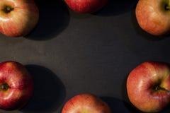 Ein schöner roter saftiger Apfel Auf einem schwarzen Hintergrund Ein Apfel im Foto Helles Foto schwarzes Stockbild