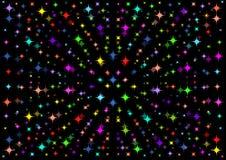 Ein schöner schwarzer Hintergrund mit bunten Sternen Stockbilder