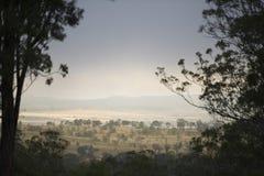 Ein schöner Sonnenuntergang über der Landschaft von Toowoomba, Australien lizenzfreie stockbilder