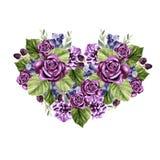 Ein schönes Aquarellherz mit Rosen und Pfingstrosenblumen, Blätter und Beeren Lizenzfreie Stockfotografie