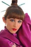 Ein schönes Asiatischart Mädchen im Kimono Stockfoto