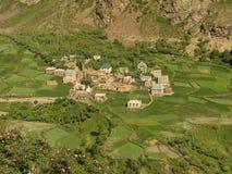 Ein schönes Dorf in den Tälern, Ladakh, Indien lizenzfreies stockbild