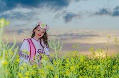 Ein schönes Mädchen in einem nationalen belarussischen Kostüm Stockfotografie