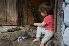 Ein schönes Mädchen spielt mit einer Katze im Dorf meiner Großmutter lizenzfreies stockbild