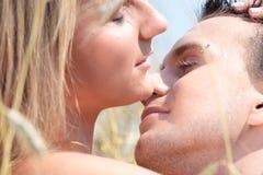 Ein schönes Paar auf dem Weizengebiet Stockbilder