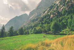 Ein schönes Tal zwischen Bergen Lizenzfreie Stockbilder