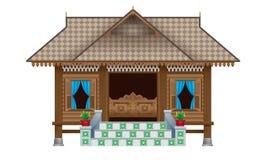Ein schönes traditionelles hölzernes malaysisches Artdorfhaus stockfoto