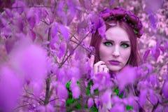 Ein schönes und fabelhaftes Mädchen in einem purpurroten Laub mit rotem Kranz Stockfotografie