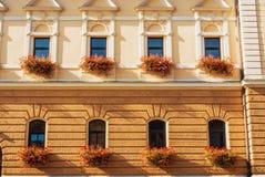 Ein schönes verziertes gelbes beige Haus mit Bogenformfenstern Lizenzfreie Stockfotos