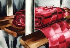 Ein Schal auf der Bank Stockbild