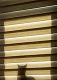 Ein Schattenbild der Katze hinter dem Vorhang auf dem Fenster Stockbild