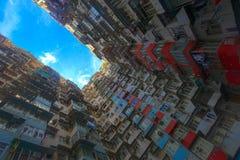 Ein Schauung herauf Ansicht der Steinbruch-Bucht in Hong Kong, China Stockfotografie