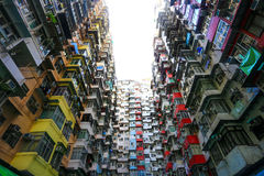 Ein Schauung herauf Ansicht der Steinbruch-Bucht in Hong Kong, China Stockbilder