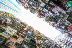 Ein Schauung herauf Ansicht der Steinbruch-Bucht in Hong Kong, China Lizenzfreie Stockbilder
