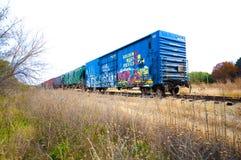 Ein Schienenfahrzeug auf der Bahn mit Graffiti lizenzfreie stockfotos