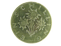 Ein Schilling. Austrian one schilling coin close up with eelweiss flower royalty free stock photos