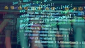 Ein Schirm mit digitalem Code auf einem Computer stock video