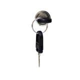 Ein Schlüssel im Schlüsselloch mit der Blockierung eines Schrankes Lizenzfreies Stockbild