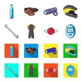 Ein Schlüssel, ein Radfahrerknochen, ein Reflektor, ein Timer Gesetzte Sammlungsikonen der Radfahrerausstattung in der Karikatur, Lizenzfreies Stockfoto