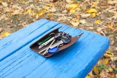 Ein Schlüsselbund auf einem blauen hölzernen Brett stockfotos