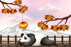 Ein Schlafenbär und ein Schneeberg lizenzfreie abbildung