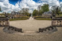 Ein Schlossgarten im Westen von Frankreich lizenzfreie stockfotografie