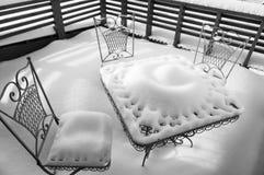 Tabelle für drei zur Winterzeit Stockfotografie