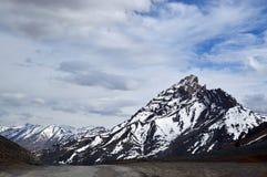 Ein Schnee mit einer Kappe bedeckter Berg Stockfotos