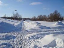 Ein schneebedeckter Tag in Aalborg in Dänemark Lizenzfreie Stockbilder
